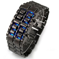 Диодные LED часы браслет Самурай черные/синие