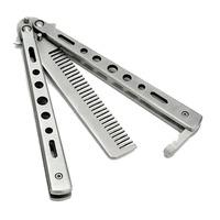 Расчёска нож-бабочка металлическая (Серебряный 17.5 см)