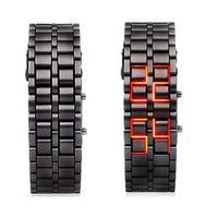 Диодные LED часы браслет Самурай черные/красные